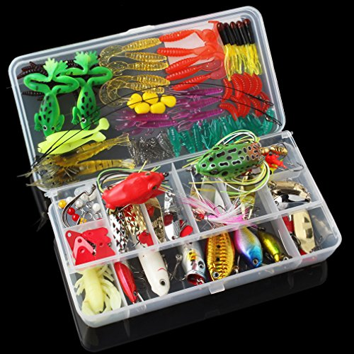 OriGlam 131pcs Super Value Fishing Lure Set Kit Lots With Tackle Box, Fishing Lures Baits Tackle Set For Freshwater Trout Bass Salmon