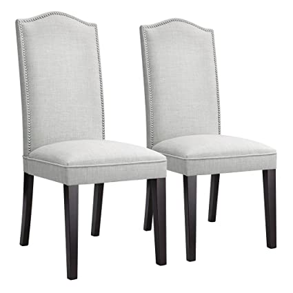 Amazon.com - LANGRIA Modern Dining Chairs Faux Linen Upholstered ...