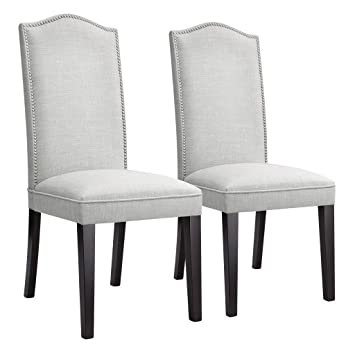 LANGRIA High Back Button Tufted Dining Chair Modern Faux Linen Upholstered  Dining Room Chair Set With