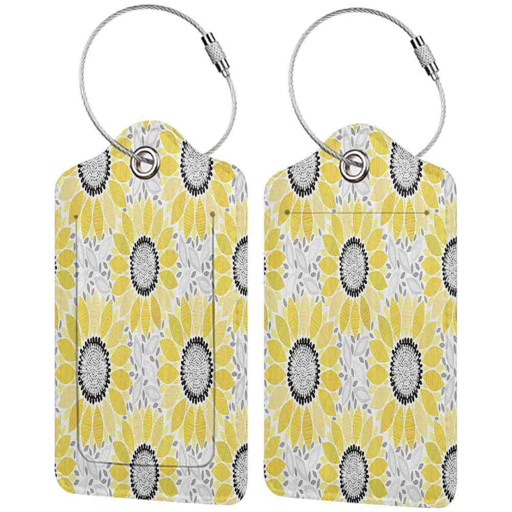 Waterproof luggage tag Yellow Decor Colorful Illustration Of Sun Flower With Chic Motifs And Patterns Summer Nature Artprint Soft to the touch Yellow Gray W2.7 x L4.6