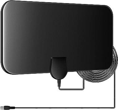 Antena de TV para Interior de 60 Millas de Antena HDTV Digital de visión Libre 4K 1080P HD FM VHF UHF Antena de Ventana para Canales Locales ...