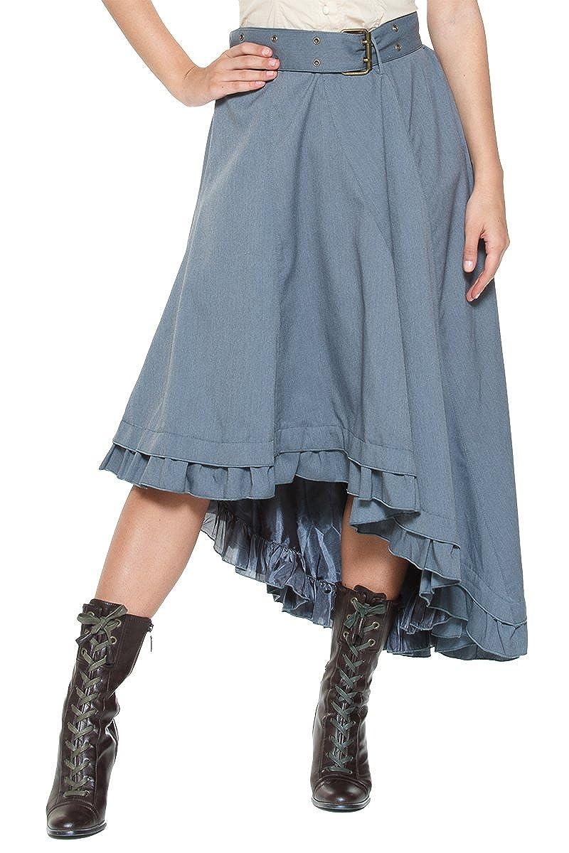 Rogue Finery Women's Plus Belt Steampunk Victorian Inspired Ruffle Asymmetric Petticoat Skirt Gray)