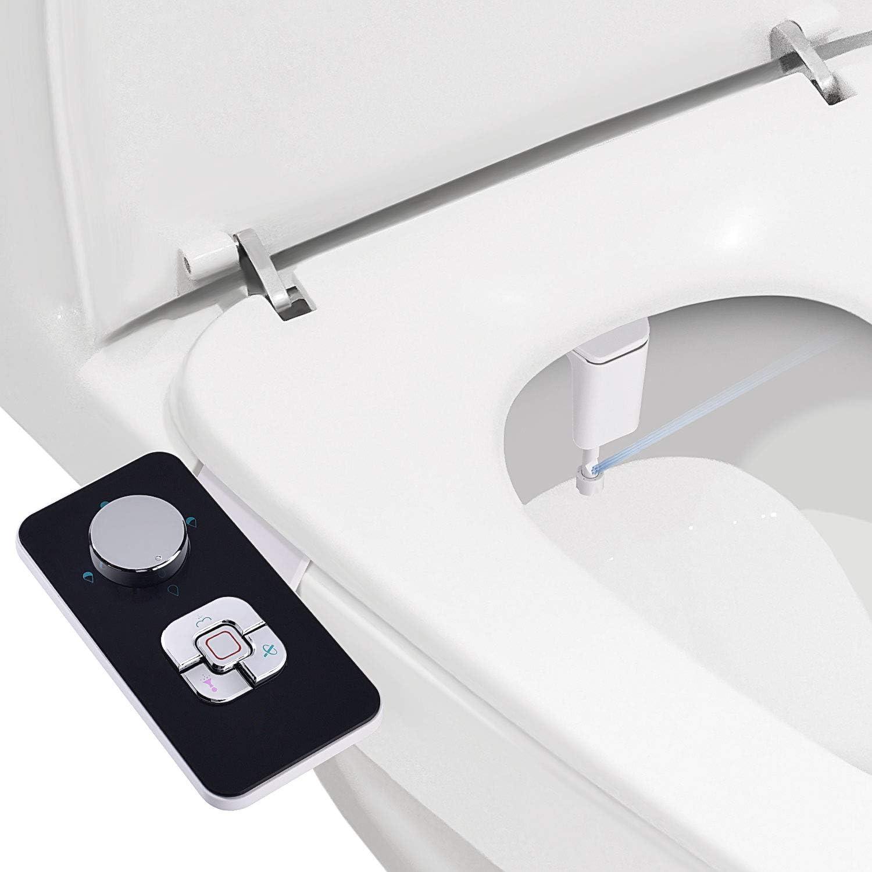 Samodra Bidet Attachment Ultra Thin 5mm Non Electric Bidet Toilet Seat Attachment Retractable Self Cleaning Dual Nozzles Frontal Rear Wash For Cold Water Adjustable Pressure Black Amazon Com