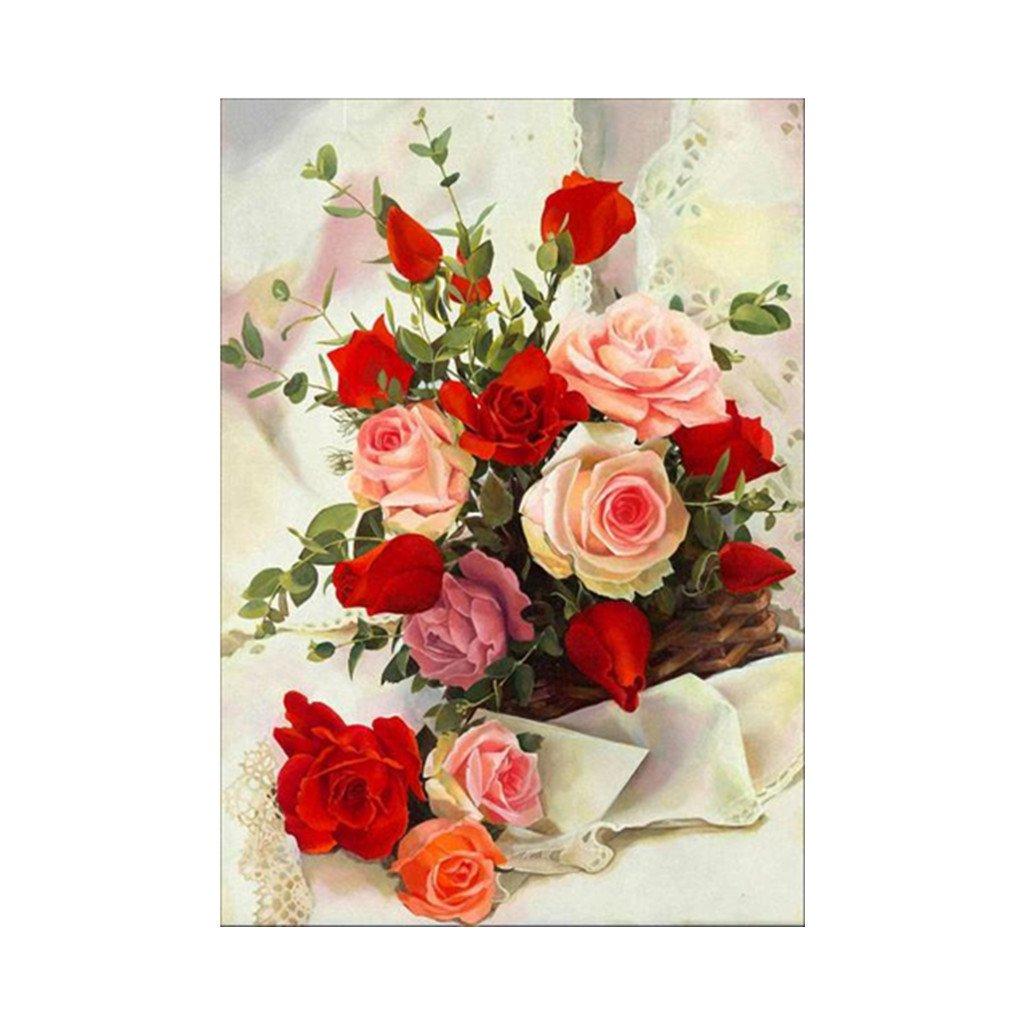 Jiamins 5D Diamant Broderie Painting kit Complet Roses en Fleurs, DIY 5D Diamond Painting Photos de Broderie de Strass Dé cor (30x40cm) DIY 5D Diamond Painting Photos de Broderie de Strass Décor (30x40cm)