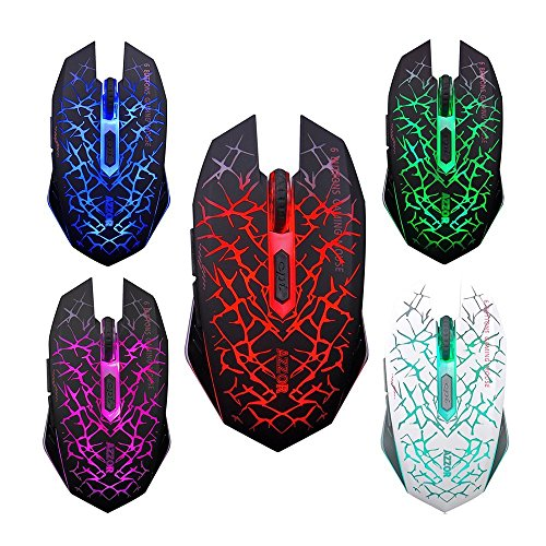 467182b9159 LexonElec® Wireless Mouse Gamer AZZOR M6 Rechargeable Silent Mute Blue LED  Breathing Light 2400DPI Adjust Ergonomic Usb Optical Crack Gaming Mouse Game  6 ...