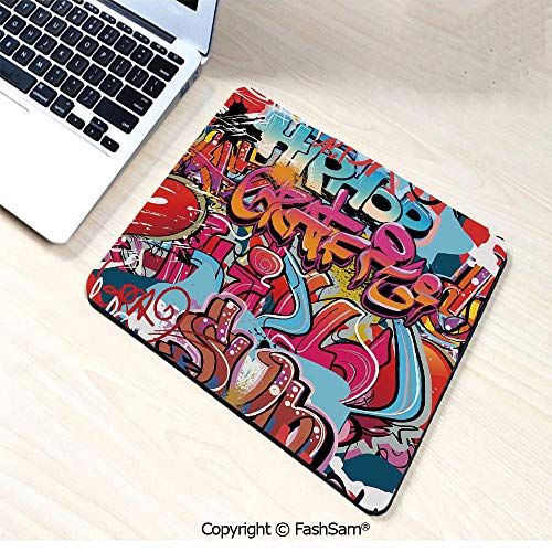 Non-Slip Rubber Mouse Pads Hip Hop Street Culture Harlem New York Wall Graffiti Spray Artwork Image for Computers Laptop Office(W7.8xL9.45) -