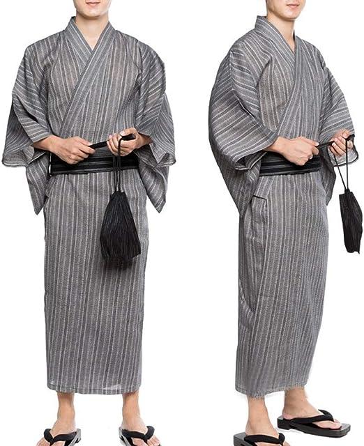 camis/ón qiangdedianzishang Pijama de sat/én de Seda para Hombre Bata,/////m/ás Rayas Beige Azul Am