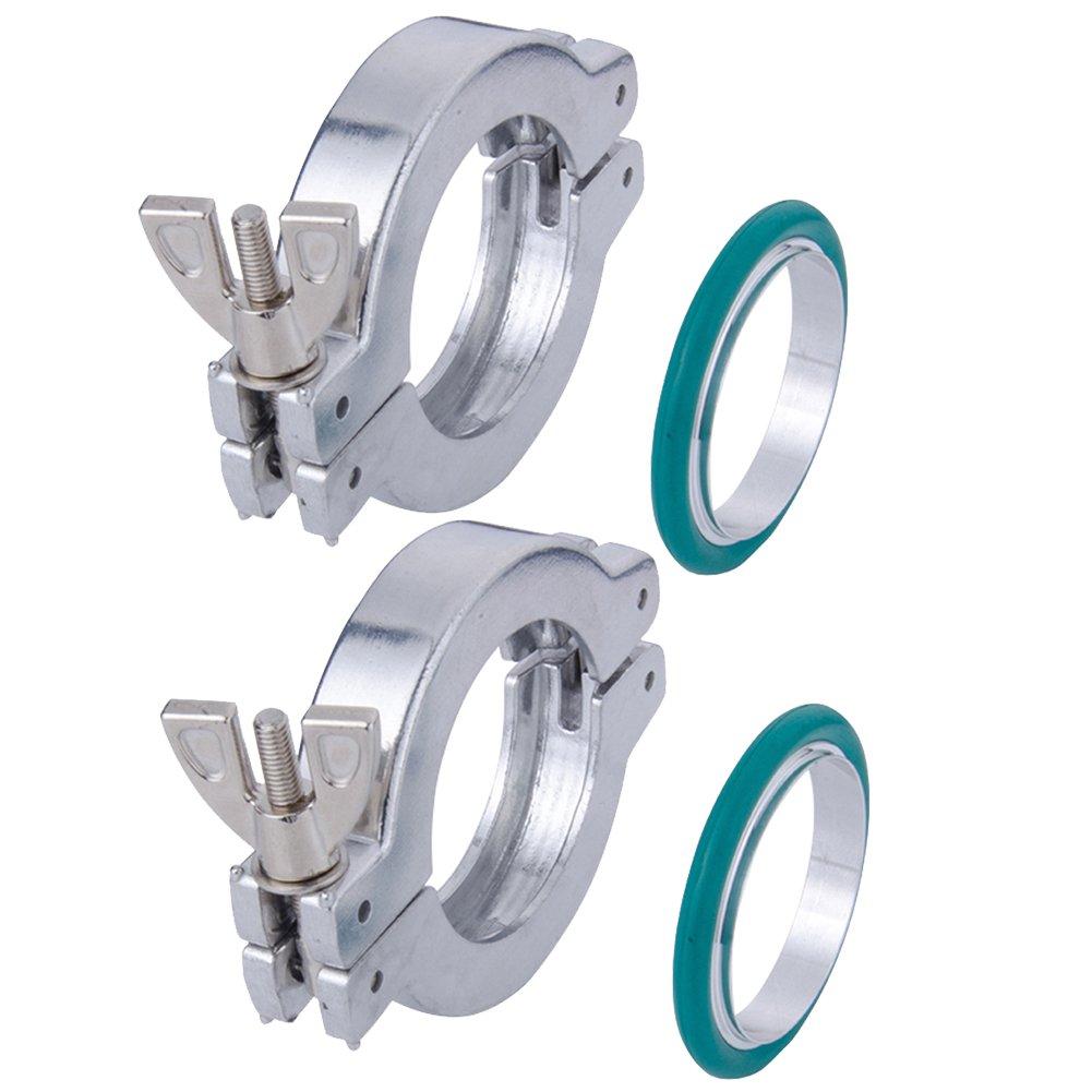 Huahong 2 Sets KF-25 Aluminium Wing Nut Hinge Clamp + KF25 Aluminum Centering Ring with FKM viton O-Ring