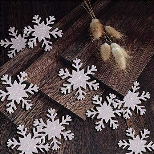 zeman 100pcs White Glitter Snowflake Confetti for Christmas Home Decor Winter Holiday Wedding Years Frozen Birthday Party Decoration