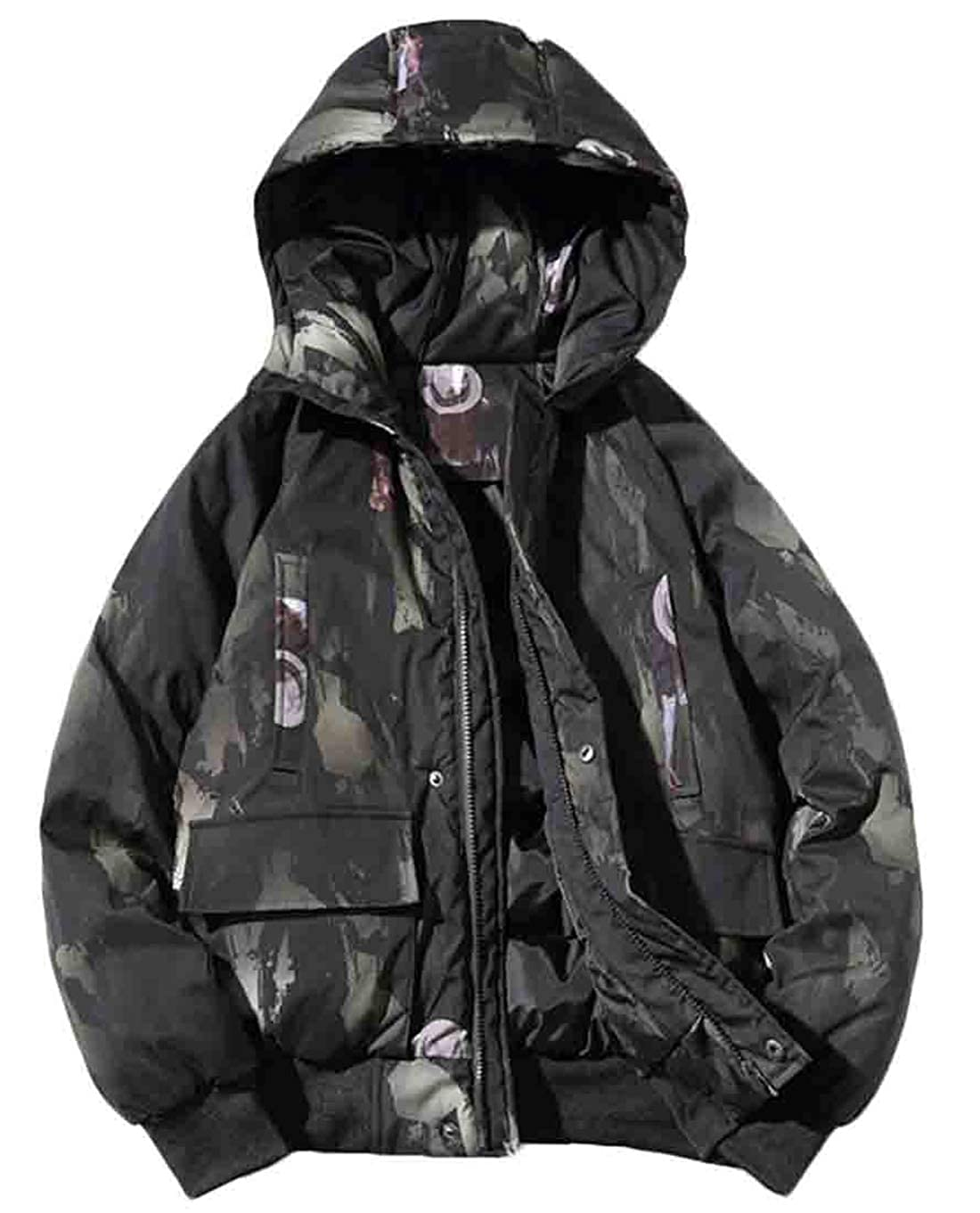 Hmarkt Mens Casual Thicken Zip-Up Winter Hooded Quilted Padded Print Pockets Down Puffer Jacket