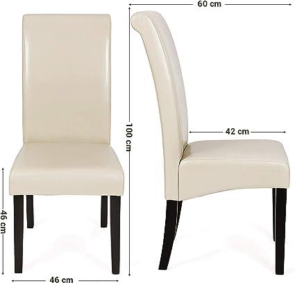 SONGMICS Lot de 2 chaises, Chaise de Salle à Manger, en PU, avec Dossier Haut, Beige LDC21M