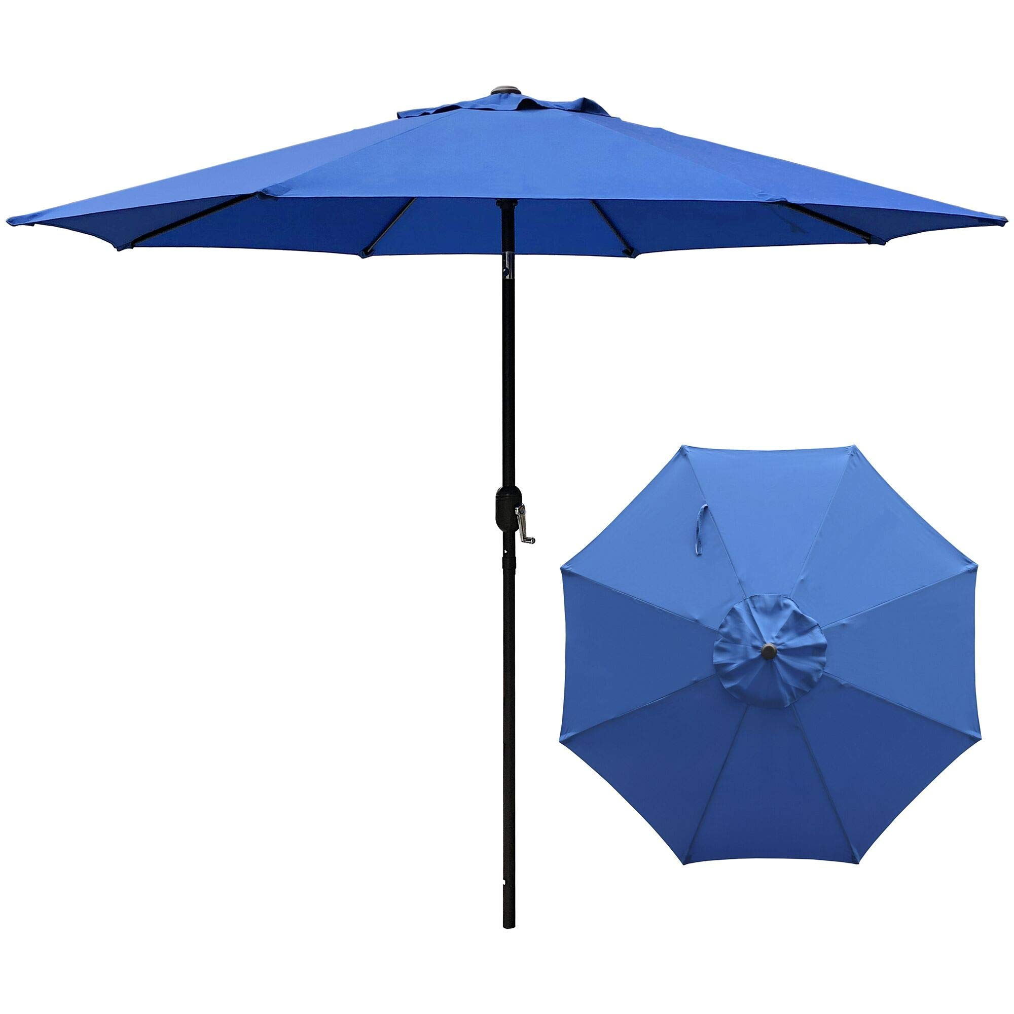 ABBLE Outdoor Patio Umbrella 9 Ft with Tilt and Crank, Weather Resistant, UV Protective Umbrella, Durable, 8 Sturdy Steel Ribs, Market Outdoor Table Umbrella, Royal Blue by ABBLE