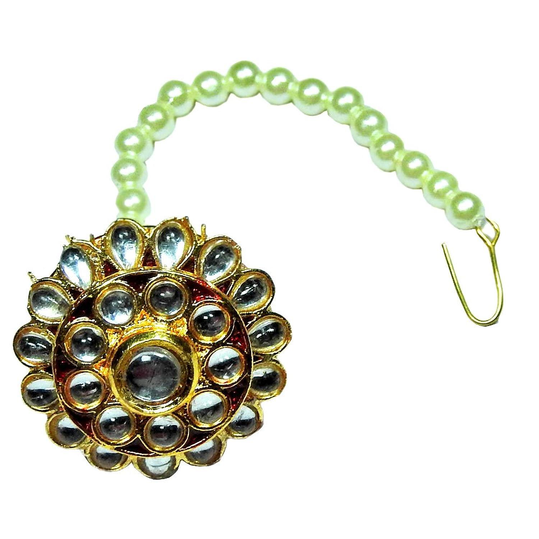 Buy Khushigems White Pearl Gemstone With Kundan Meena Rajputi ...