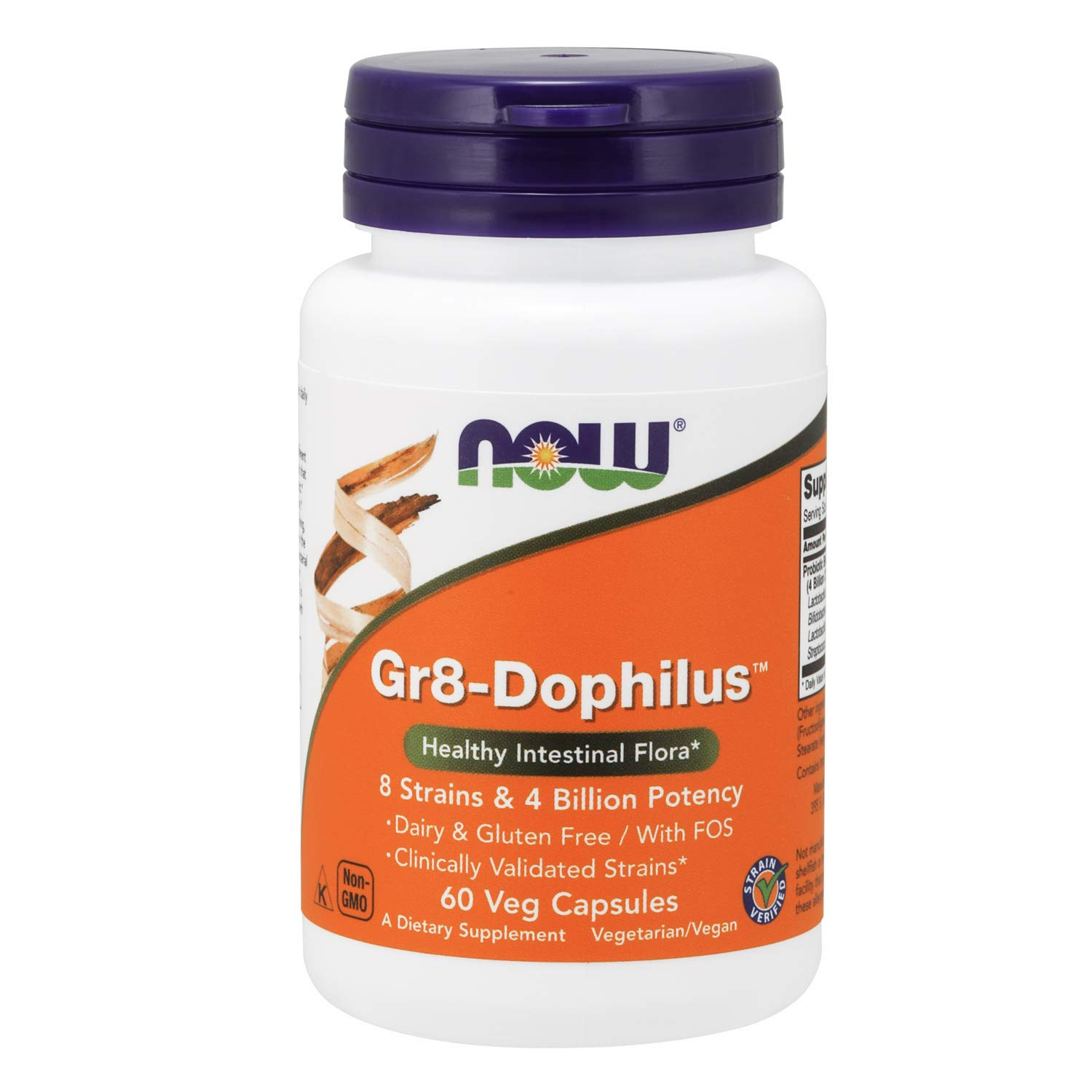 Now Supplements, Gr8-DophilusTMwith 8 Strains & 4 Billion Potency, Shelf Stable, 60 Veg Capsules by NOW Foods