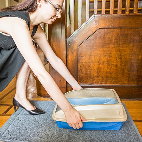 Easyology Extra Large 35'' x 23'' Cat Litter Mat, Traps Messes, Easy Clean, Durable, Non Toxic - LIGHT GREY by Easyology (Image #7)
