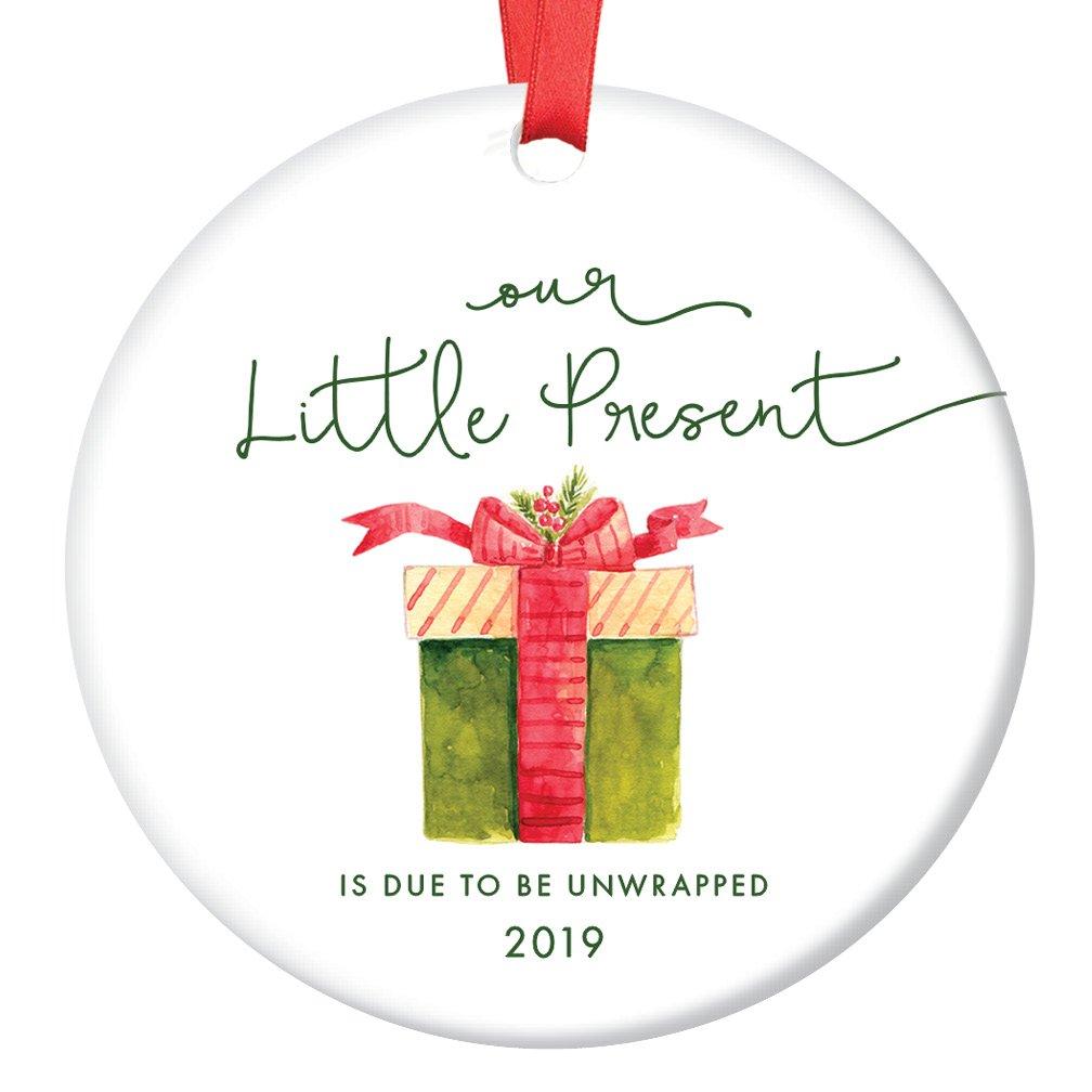Our Little Present 2019 Pregnancy Announcement Ornament, Expecting Parents Porcelain Ceramic Ornament, 3