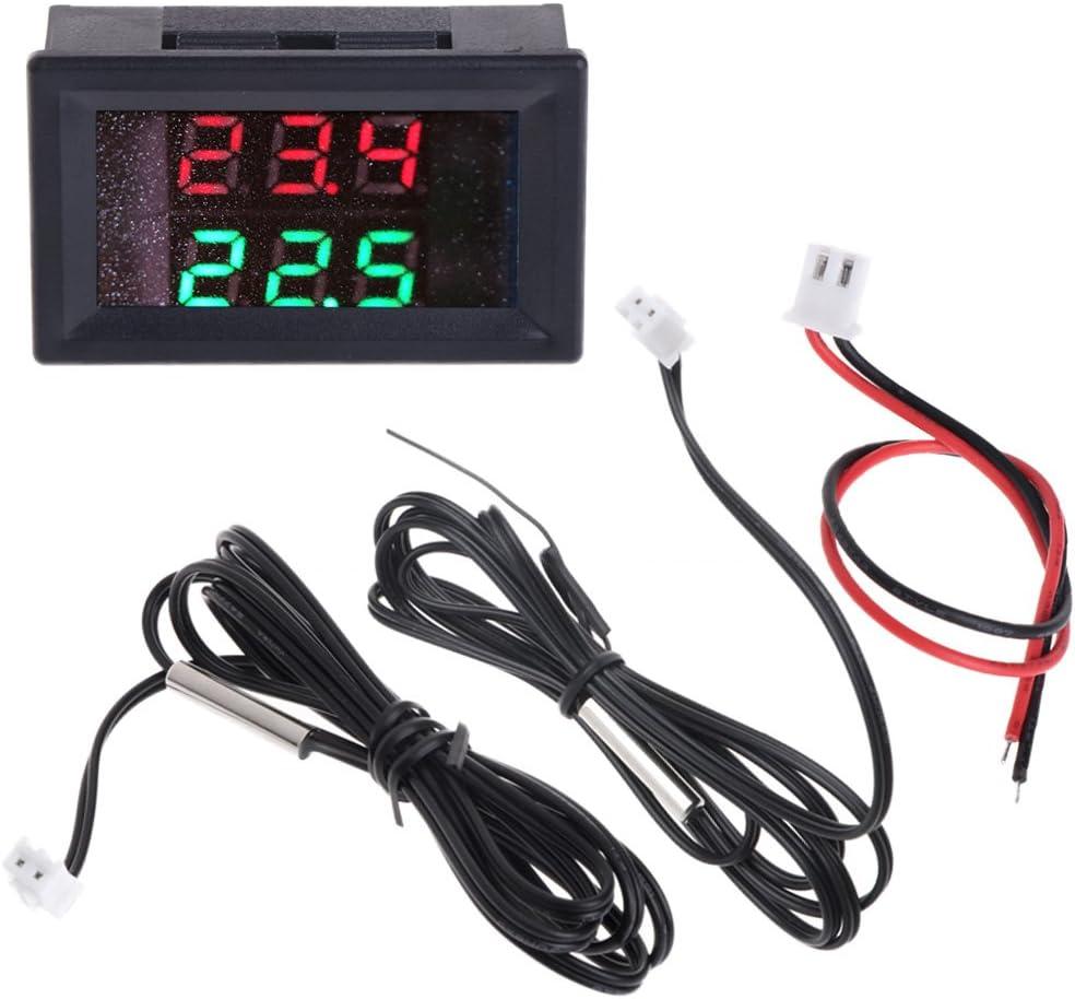 Hergon Auto Thermometer Dc 4 28v Temperaturmesser Dual Digital Display Thermometer 2 Stück Wasserdicht Ntc Temperatursensor Sonde Hohe Präzision Messung Temp Detektor Lehre Baumarkt