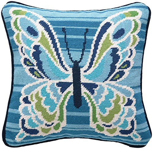 Trina Turk Residential New Needlepoint Pillow, Mariposa, Blue