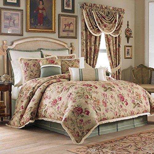 - Croscill Cottage Rose Queen Comforter Set, 7 Pieces Bundle, Beige Tan Green Floral