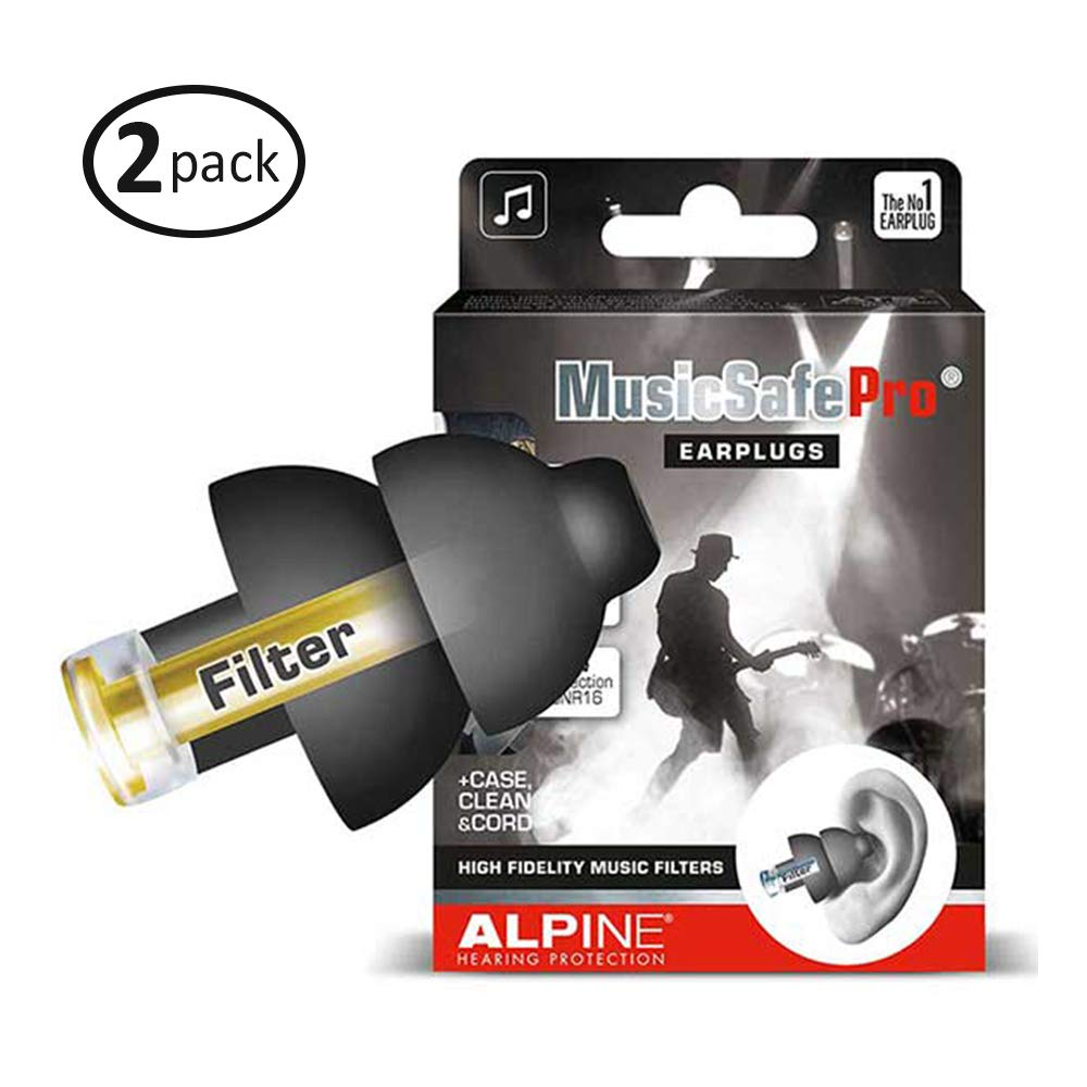 Alpine MusicSafe Pro Hearing Protection for Musician, Black (2-Pack) by Alpine Hearing Protection