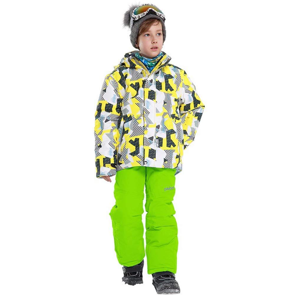 Jaune   Vert 9-10 ans   134 140 LSERVER Enfant Filles Garçons Ensemble 2 Piéces Veste de Ski Pantalon Neige veste Snowproof Parka