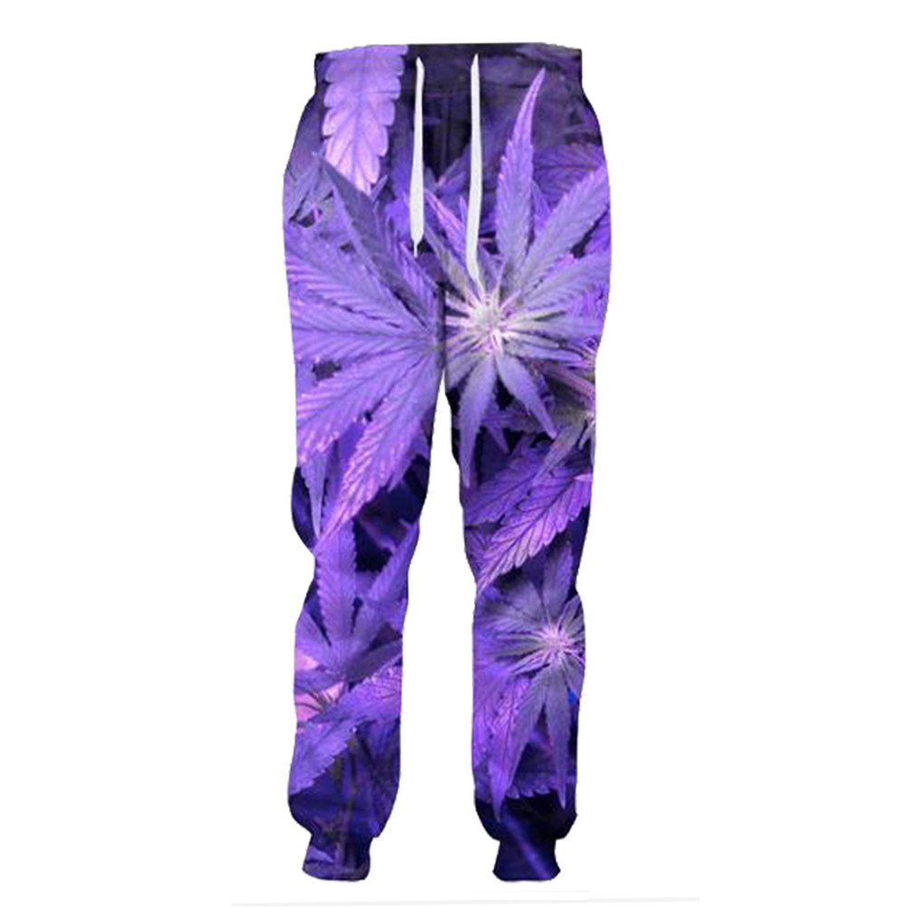 Purple Weed Leaf Joggers Women Men Full Length Trousers 3D Casual Sweatpants Urpants