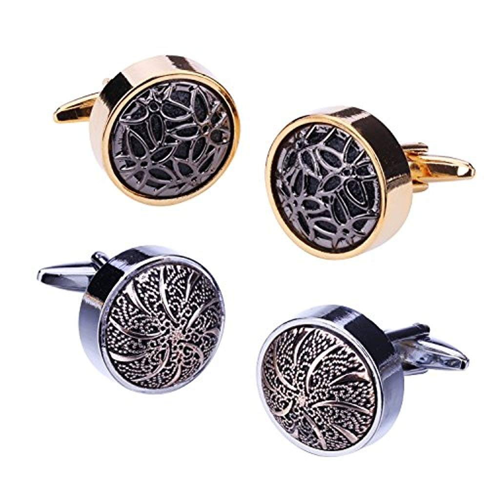 BodyJ4You 4PC Cufflinks Button Circle Abstract Flower Goldtone Classic Design Business Gift Set