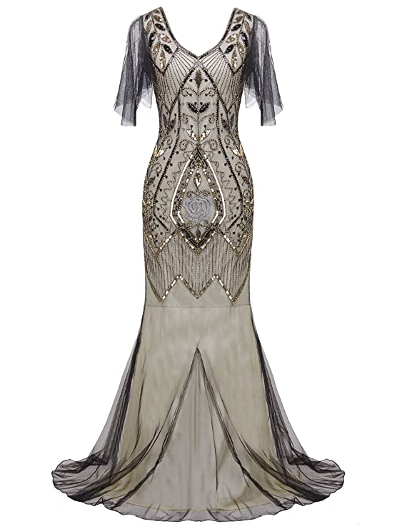Edwardian Ladies Clothing – 1900, 1910s, Titanic Era FAIRY COUPLE 1920s Floor-Length V-Back Sequined Embellished Prom Evening Dress D20S004 $59.99 AT vintagedancer.com