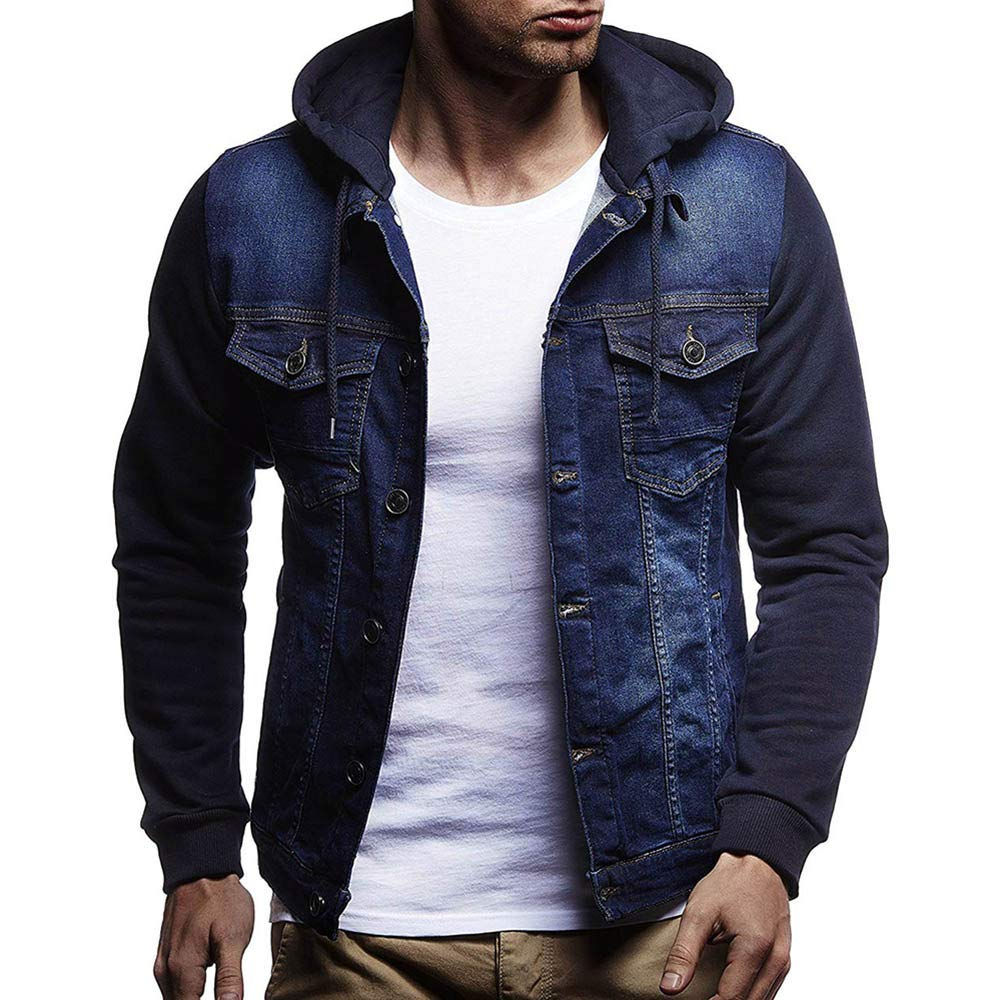 HHei_K Mens Casual Vintage Distressed Hooded Demin Jacket Slim Fit Button up Pocket Drawstring Hoodie Tops Coat by HHei_K (Image #2)