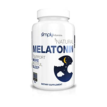 Simply Vitamins Natural Melatonin 3mg 100 Tablets - All Natural Non Habit Forming Sleep Aid -