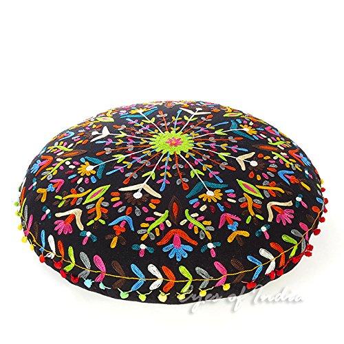 Eyes of India - 24'' Black Round Decorative Floor Meditation Cushion Seating Pillow Throw Cover Bohemian Boho Indian
