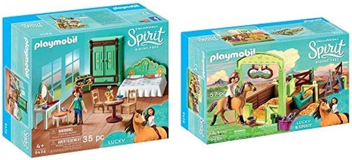 PLAYMOBIL 9476 Spielzeug-Luckys Schlafzimmer & 9478 Spielzeug-Pferdebox Lucky & Spirit