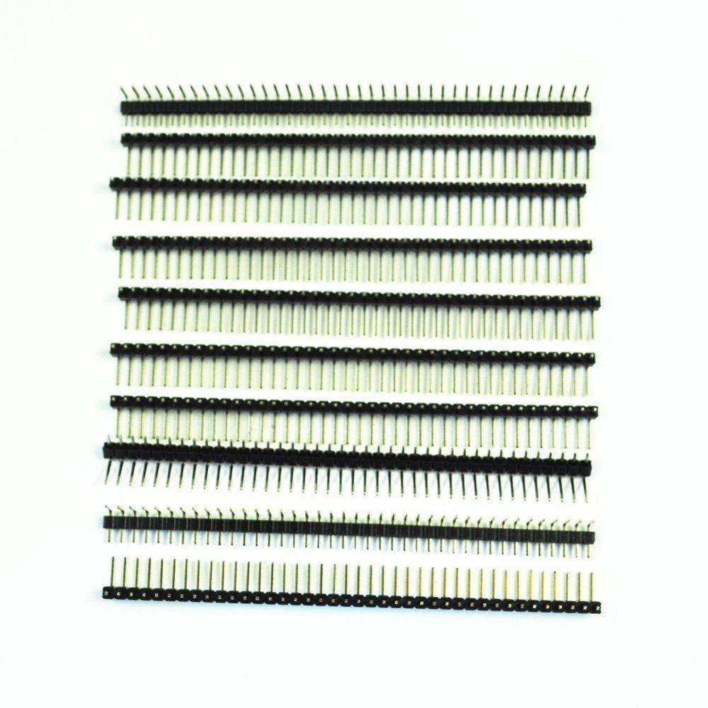 SODIAL(R) 10 Pcs 1 x 40 Pin 2.54mm Pitch Single Row Right Angle PCB Pin Headers