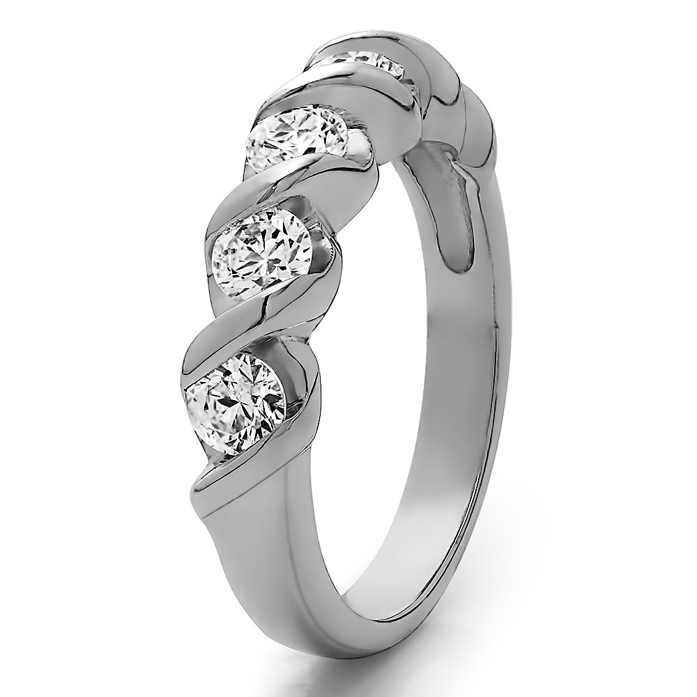 Yellow Plated Silver Cubic Zirconia 1 CT Five Stone Wedding Band Size 3 To 15 in 1//4 Size Interval