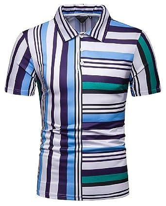 7c67d9d5ac9e Domple Men Short Sleeve Summer Turn Down Collar Classic Stripe Casual Golf Polo  Shirt Blue M