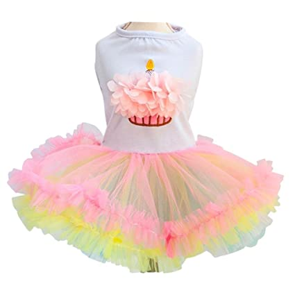 a8fbb3a17985 Ollypet Cute Dog Birthday Dress for Girls Dogs Clothes Cupcake Tutu Apparel  Small Cats Puppy Yorkie