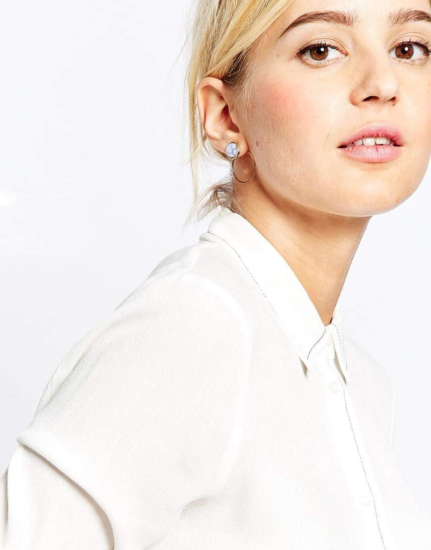 forme ronde Lumanuby Clous doreille tendance /à motif g/éom/étrique simple boucles doreilles pour femme avec motif marbre turquoise