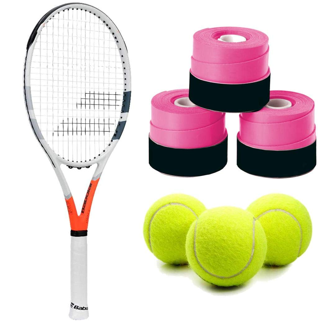 Babolat Strike G (Game) Tennis Racquet (4 1/4'' Inch Grip) Kit or Set Bundled with (1) Can of 3 Tennis Balls and (1) 3-Pack of Overgrips in Pink