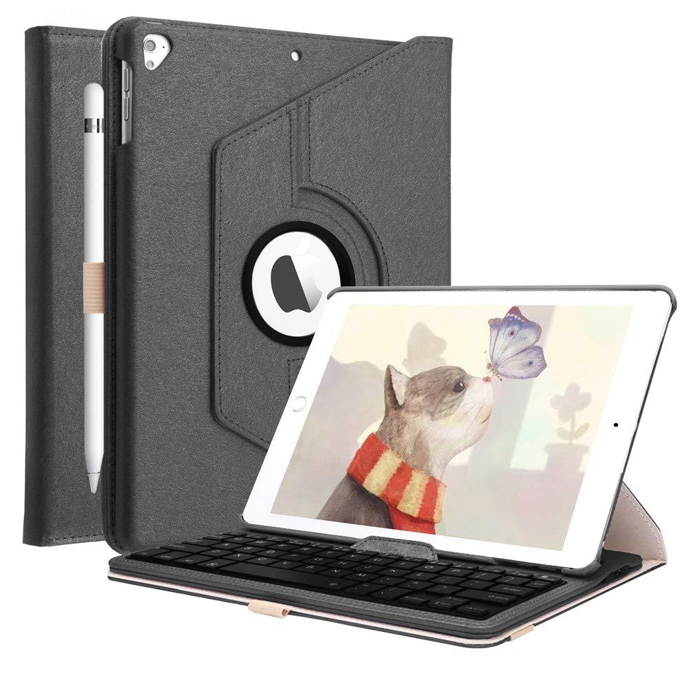 iPad 6th Gen 2018 / iPad 5th Gen 2017 / iPad Pro 9.7 2016 / iPad Air 2 / iPad Air -360度回転Bluetoothキーボードカバー、ブラック用iPadキーボードケース   B07LD4C764