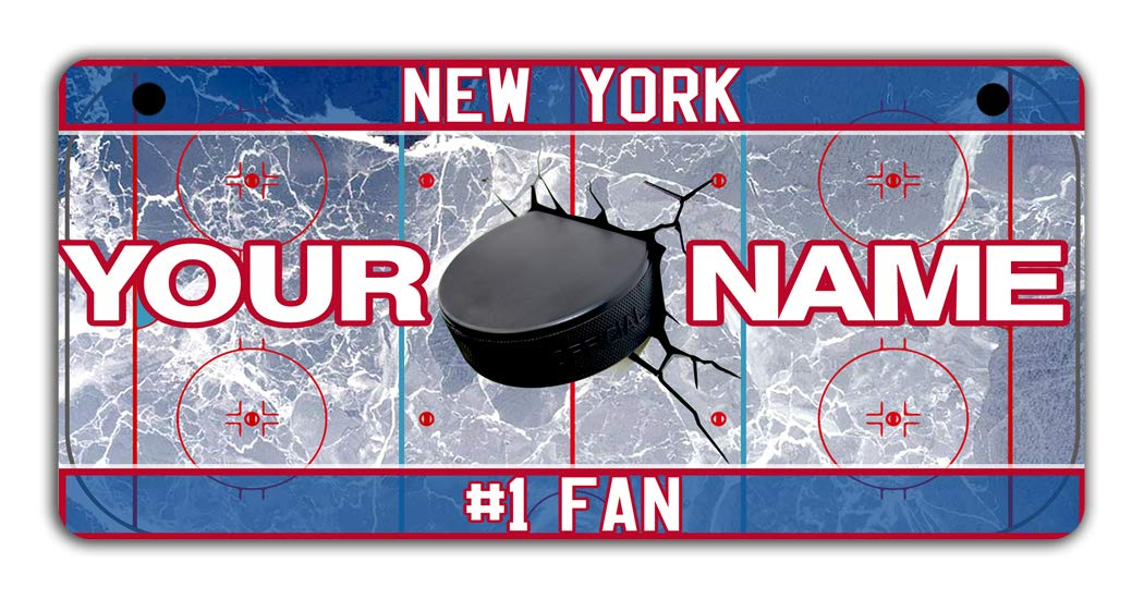 BRGiftShop Personalize Your Own Hockey Team New York Blue and Red Bicycle Bike Stroller Childrens Toy Car 3x6 License Plate Tag