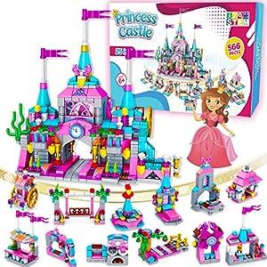 Best Epic Trends 61ChRiywNfL._SS300_ Catcrafter Princess Castle Kids Girls Toys - STEM Toy Construction Building Blocks Playhouse Doll House Birthdays Gifts…