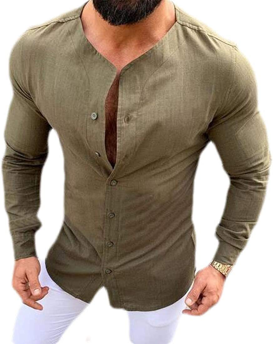 Cromoncent Men Casual Long Sleeve Linen Button Front Solid Top Shirts
