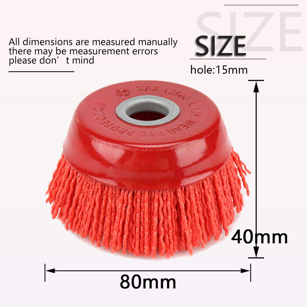 3Pcs Set 3Pcs 4 x 5//8 Nylon Filament Wheels Cup Brush Set for Angle Grinder,Include Grit 80 120 240,Nyalox Drill Brush Kit for Removal Rust Corrosion Paint