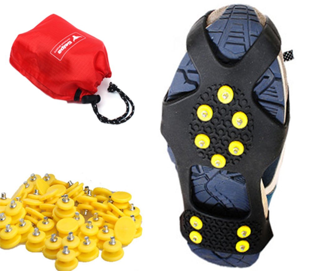 Happy Lily 10-point Ice & Snow Traction Cleat, Ice Grips for Walking, Ice Claws Tread, Crampons,Stretch Footwear fit Outdoor Slippery Terrain, Extra 15 Studs and 1 Waterproof Pocket