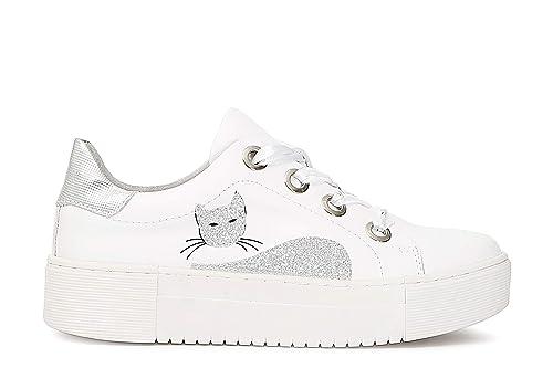 CafèNoir IDD145 Sneakers Allacciata in Pelle con Gatto