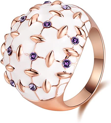 Women/'s Silver Stainless Steel Flower Design Dome Style Fashion Ring SIZE 5-10