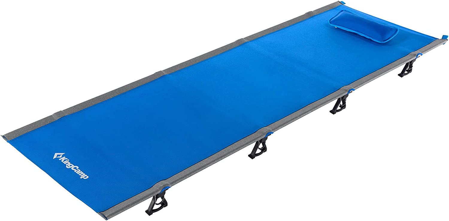 Extended Long//Wide 78.7x28.3 KingCamp Heavy Duty 551lbs Aluminum Camping Folding Cot Lightweight Portable High Off Ground Sleeping Bed with Pocket for Adults Backpacking Outdoor Indoor Office