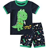 iiniim Toddler Kids Boys 100% Cotton Pajamas Set PJS Short Sleeves Dinosaur Print with Shorts Summer Sleepwear…