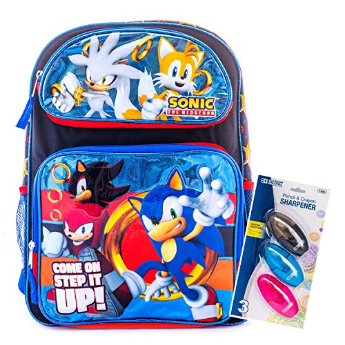 Sonic The Hedgehog Backpack School Bag Travel Game Bag with Stationary Supply (16 Inch Large) ()
