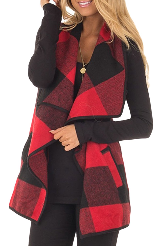 Yacun Women Open Front Sleeveless Cardigan Vest Plaid Shawl Coat CAYFGE1710063